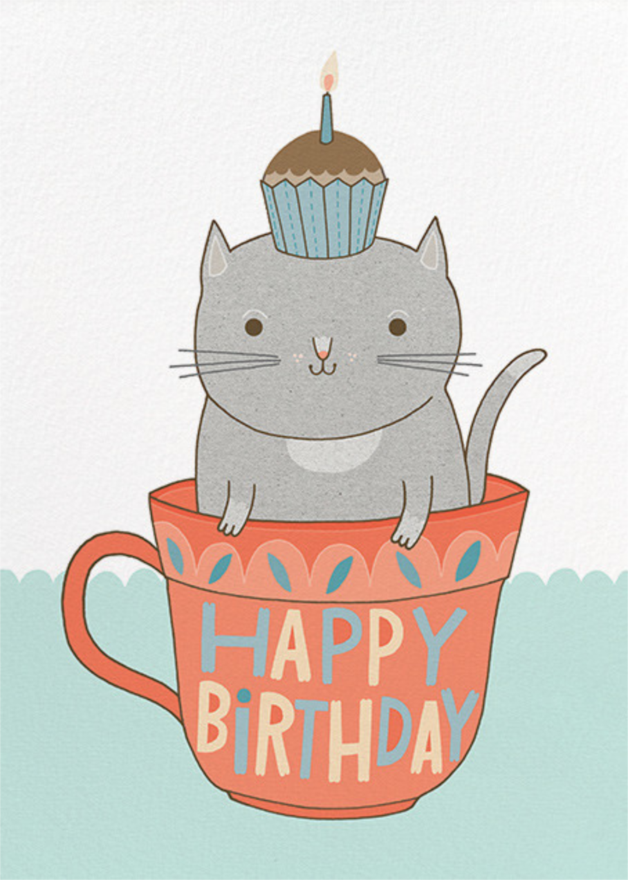 Teacup Cat (Anke Weckmann) - Red Cap Cards - Cameo