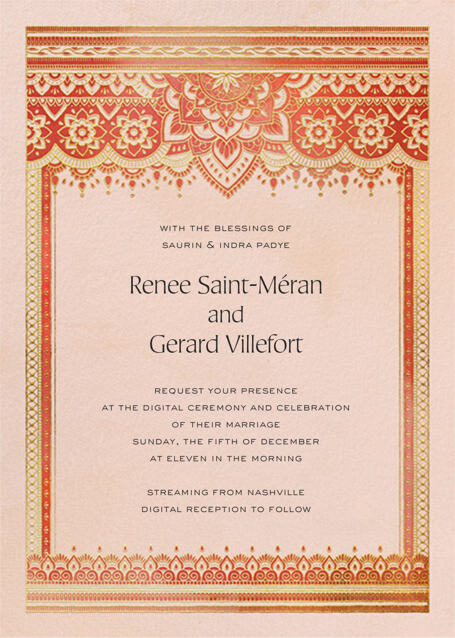 Golden Paisley (Invitation) - Red - Paperless Post - All