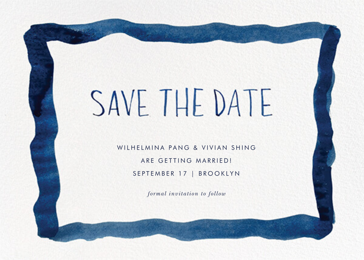 Watercolor Frame - Blue - Linda and Harriett - Save the date
