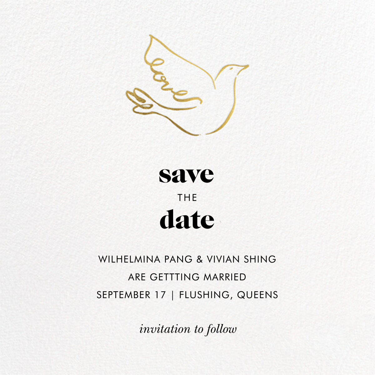 Gold Dove - kate spade new york - Save the date