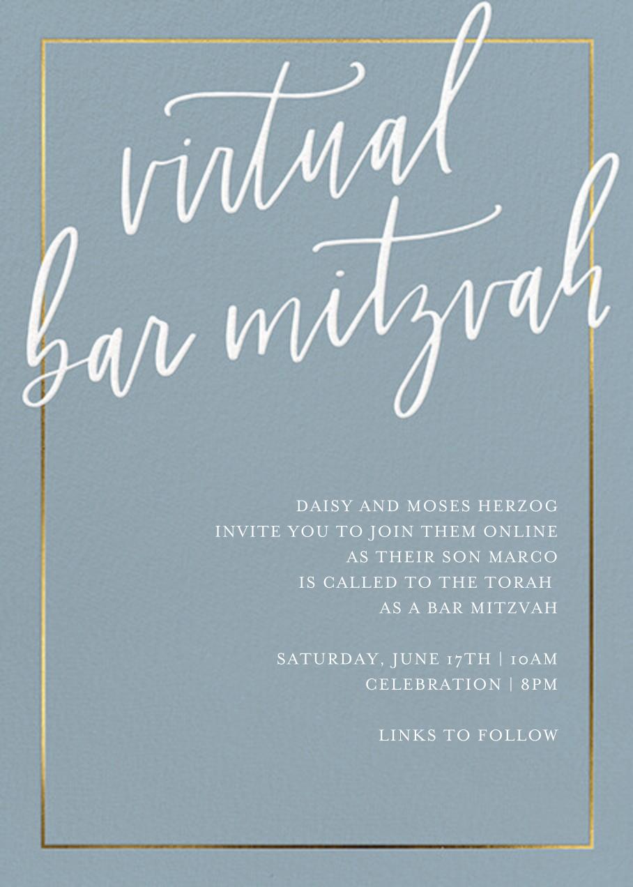 Sprawling Script (Virtual) - Blue - Sugar Paper - Bat and bar mitzvah
