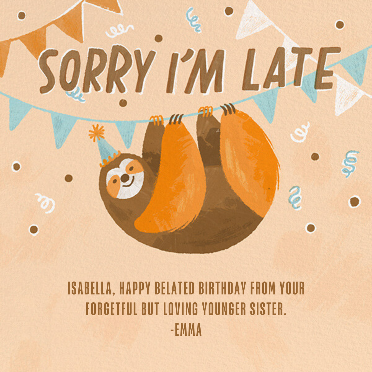 Party Sloth - Paperless Post - Birthday