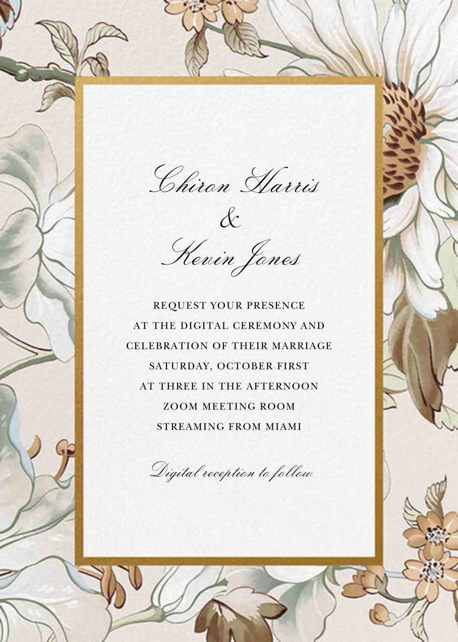 Painted Flowers (Invitation) - Cream - Oscar de la Renta