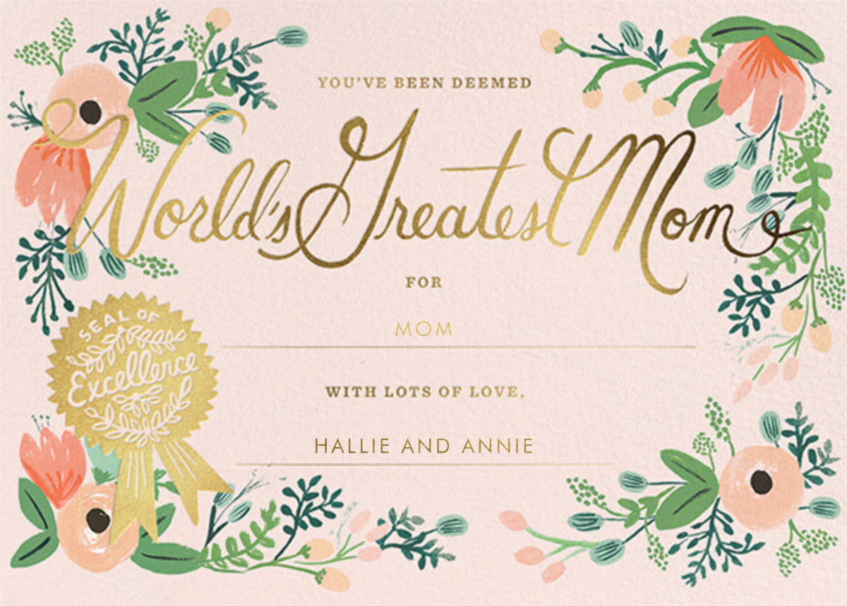 Greatest Mom Certificate - Rifle Paper Co. - Mother's Day