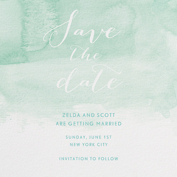 Color Wash (Save the Date) - Persian Green - Paperless Post - Destination