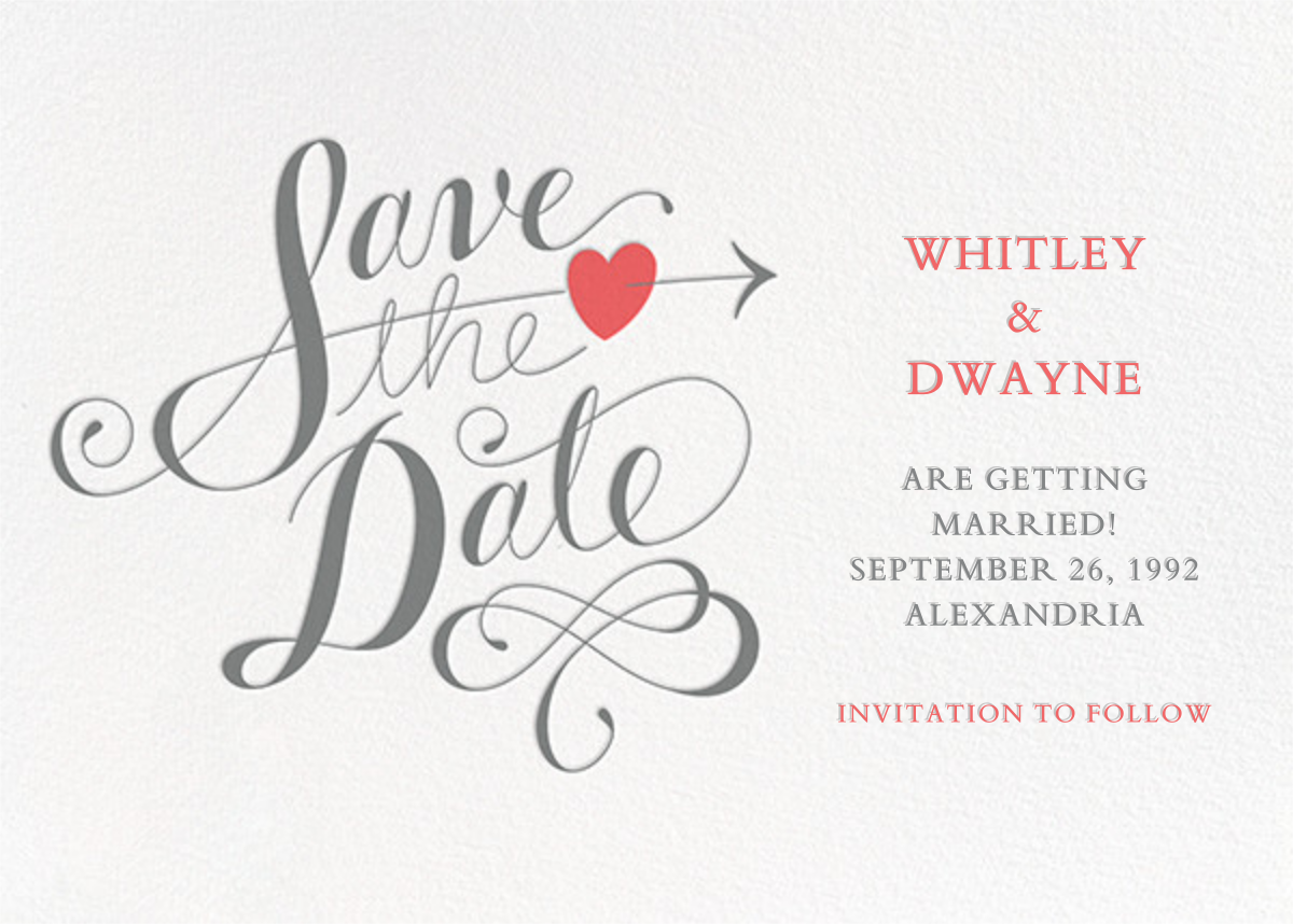 Script Heart - White/Gray - Paperless Post - Save the date