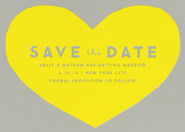 Heart Save the Date - Yellow Gray - The Indigo Bunting
