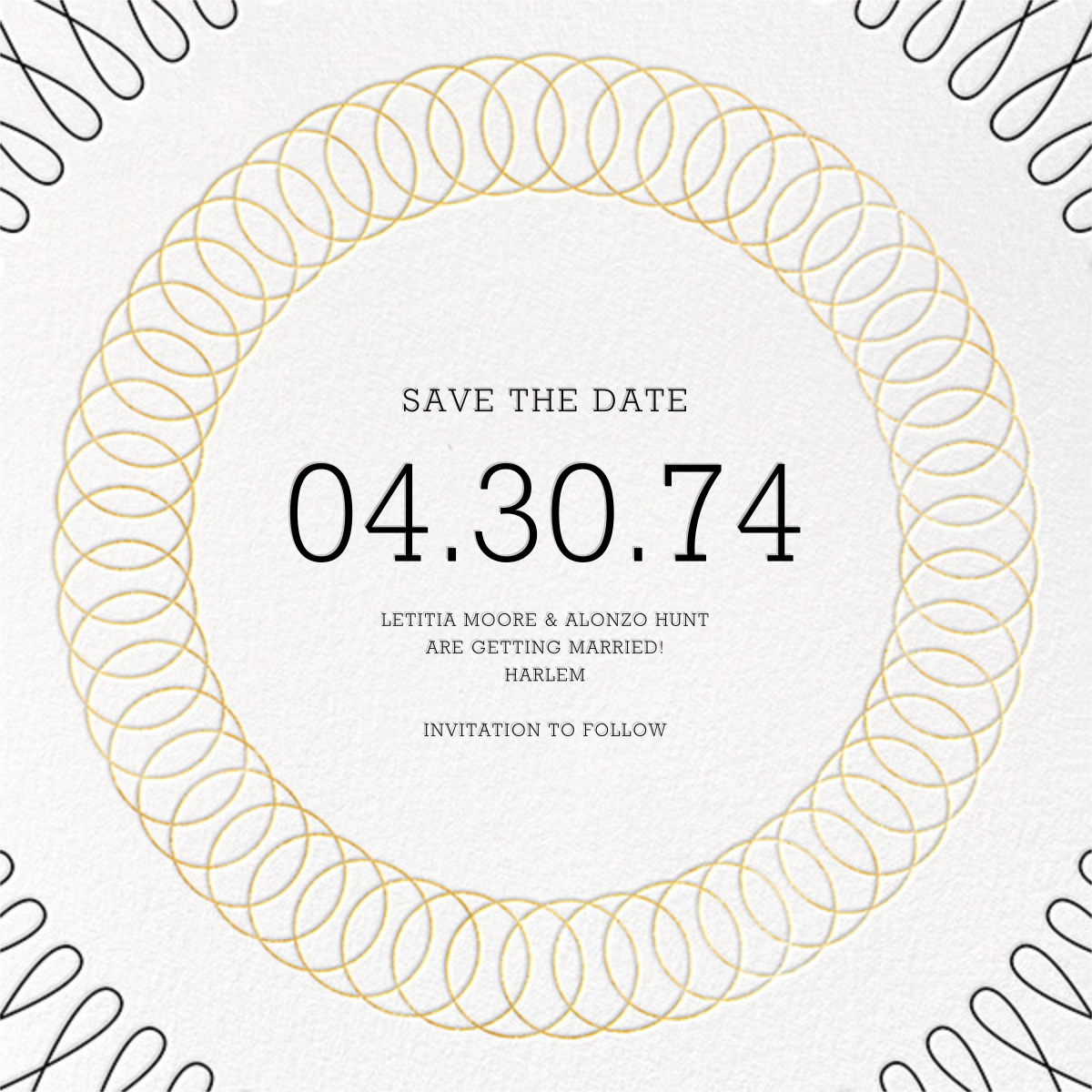 Spirals (Save the Date) - Gold - Paperless Post - Save the date