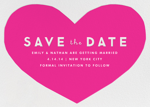Heart Save the Date - Pink - The Indigo Bunting - The Indigo Bunting