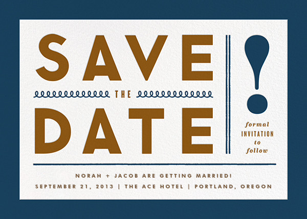 Bold Line (Save the Date) - Blue - The Indigo Bunting - Modern