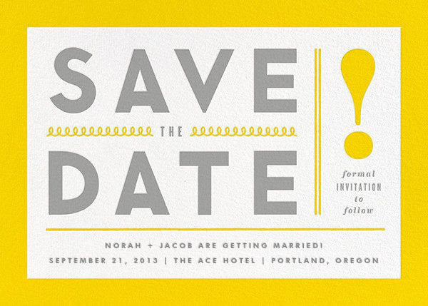 Bold Line (Save the Date) - Yellow - The Indigo Bunting - Save the date