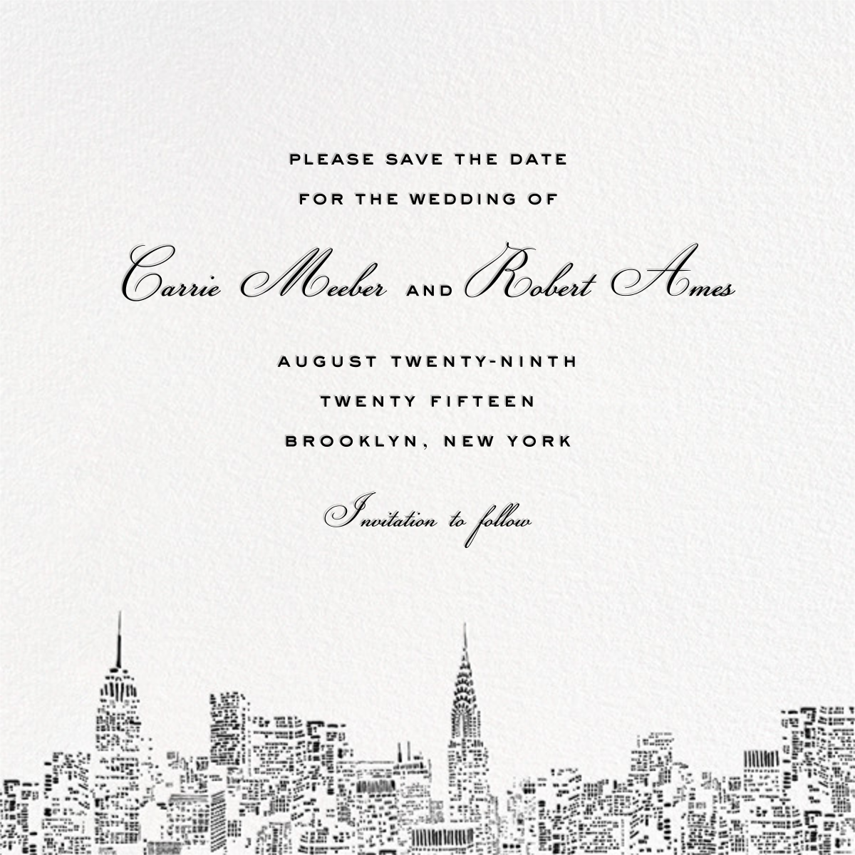 City Lights II (Save the Date) - White/Black - kate spade new york - Save the date