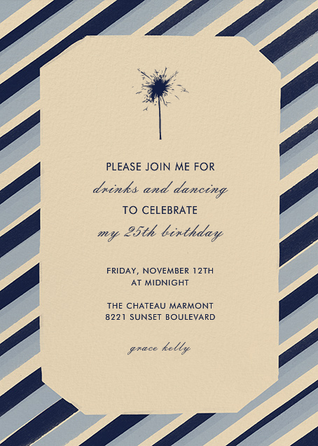 Diagonal Stripe Tall - Navy and Pacific - Paperless Post - Adult birthday