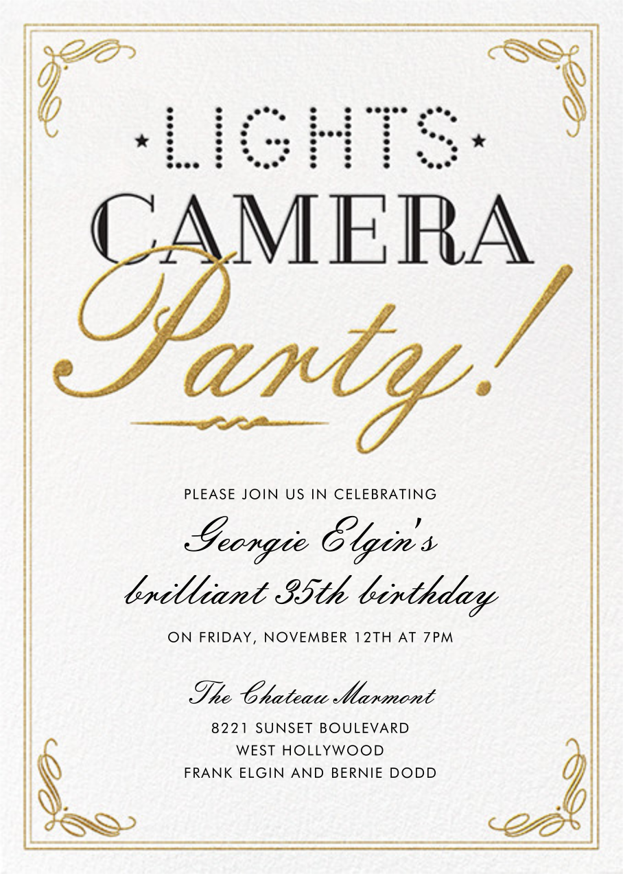 Lights, Camera, Party - Crate & Barrel - Adult birthday