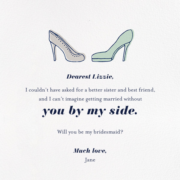 Bride and Bridesmaid - Paperless Post - Wedding party requests