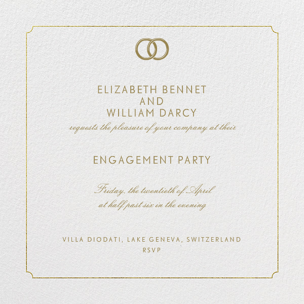 Indented Rounded Corners - Gold - Paperless Post - Engagement party
