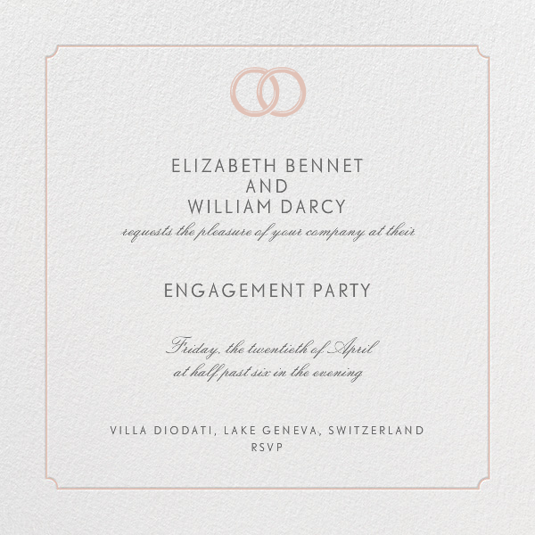 Indented Rounded Corners - Antique Pink - Paperless Post - Engagement party