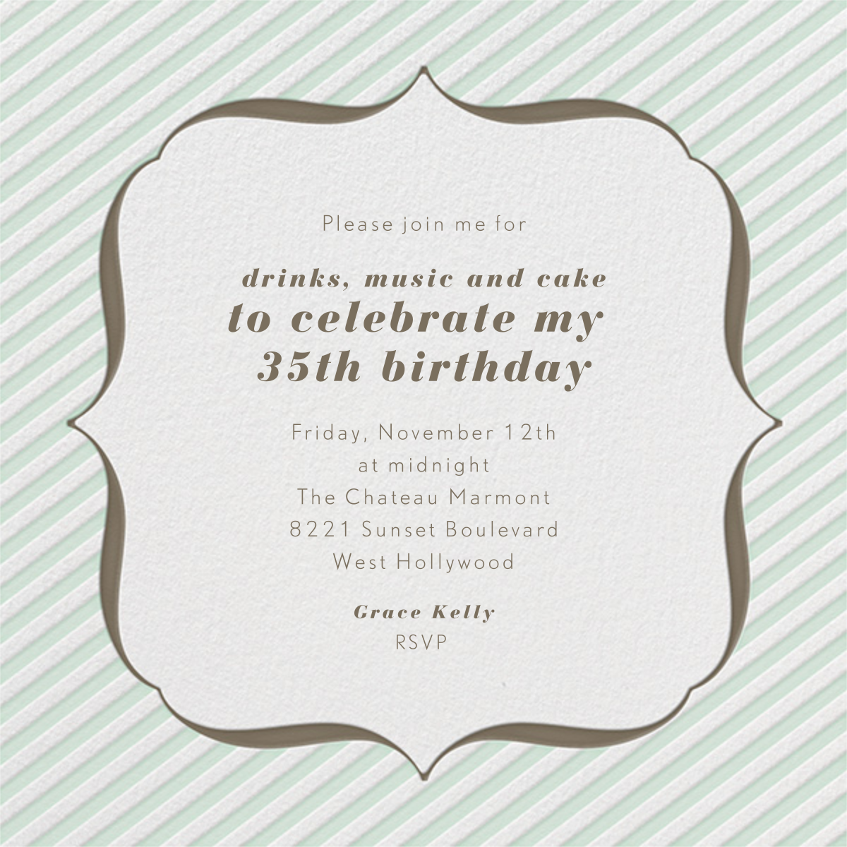 Circus Stripe - Mint and Clay - Paperless Post - Adult birthday