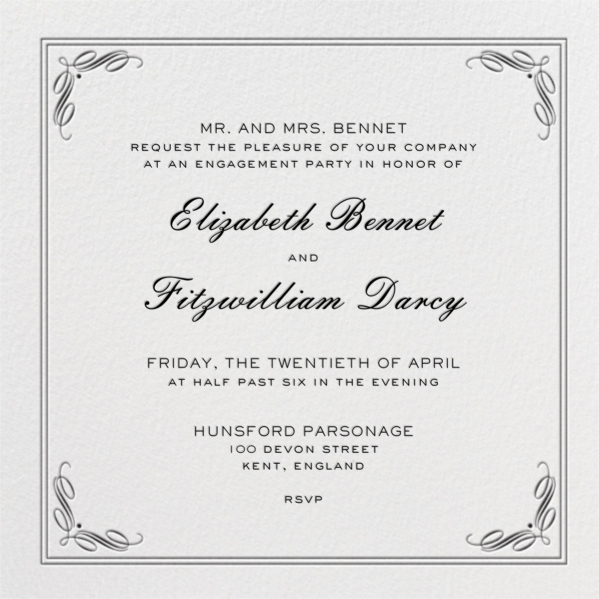 Regency (Square) - Black - Paperless Post - Engagement party