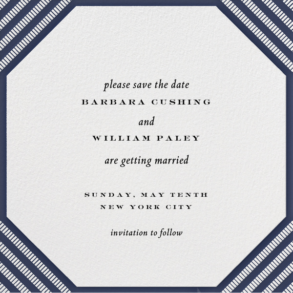 Claridge (Square) - Navy - Paperless Post - Party save the dates