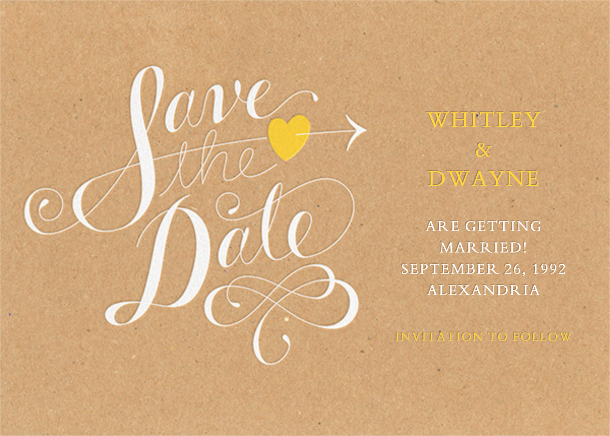 Script Heart - Kraft - Paperless Post - Party save the dates