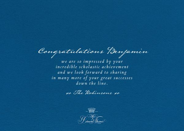 Congratulations Flourish - Indigo - Bernard Maisner - Congratulations - card back
