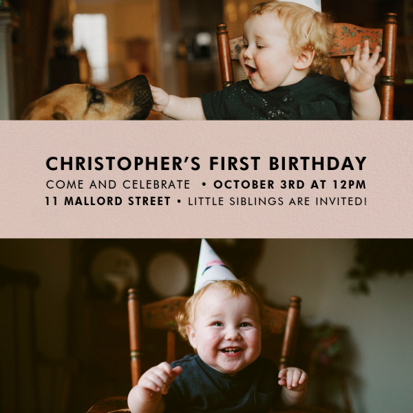 Title Card - Antique Pink - Paperless Post - 1st birthday