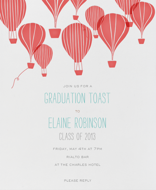 Hot Air Balloon Cluster - Coral - Paperless Post