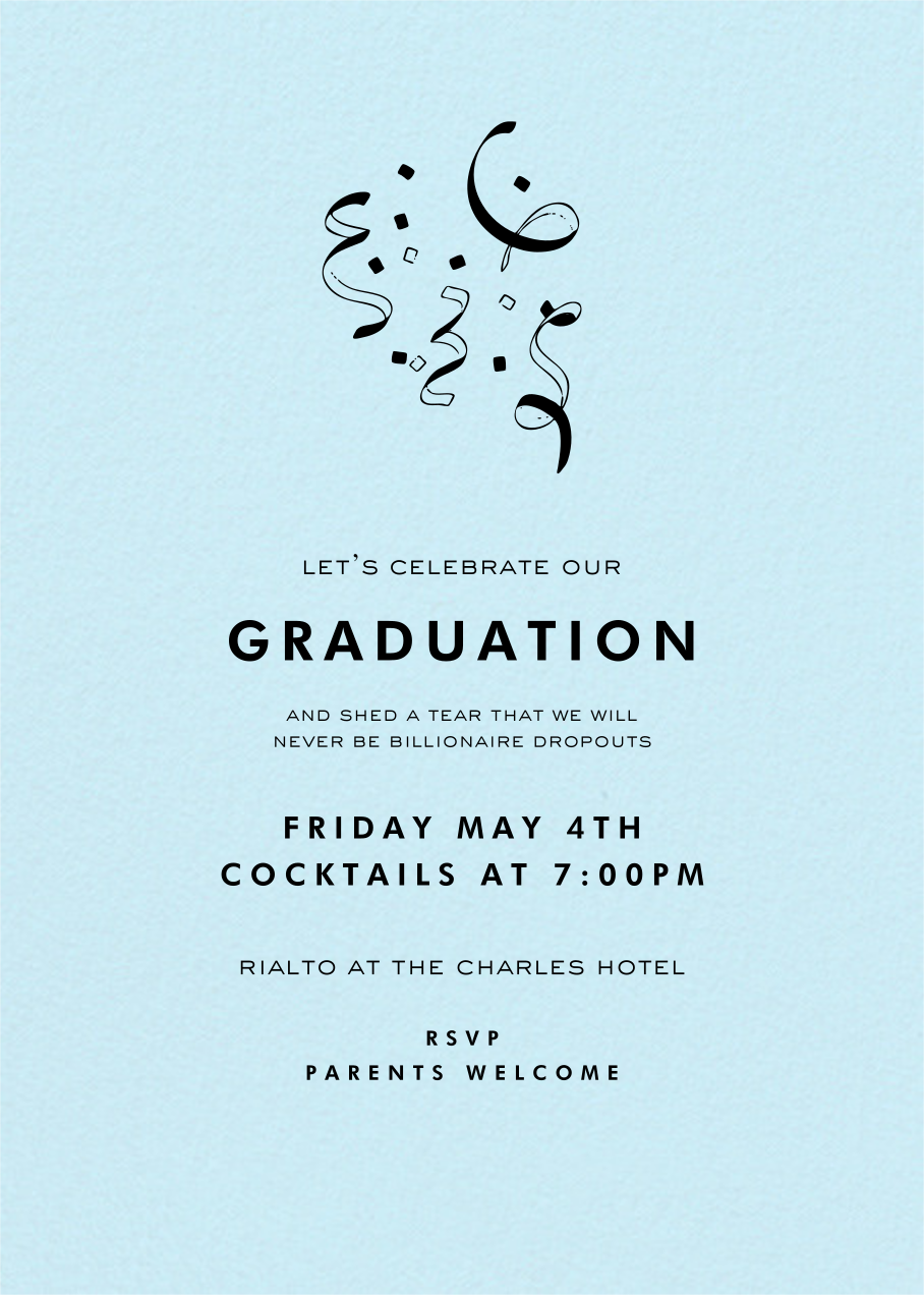 Glacier (Tall) - Paperless Post - Graduation party