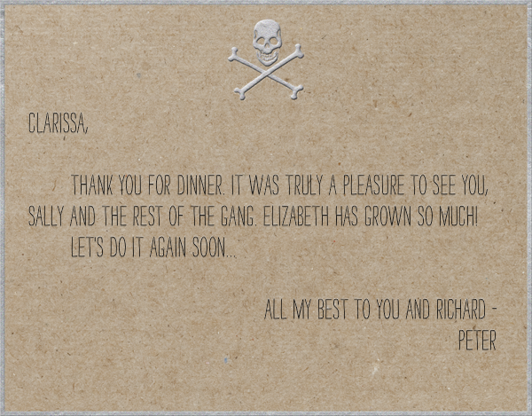 Skull and Cross Bones - chip board with silver - Paperless Post - Personalized stationery