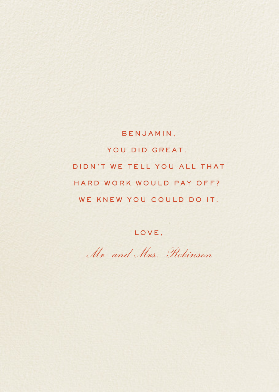 Congratulations - Bernard Maisner - Graduation - card back