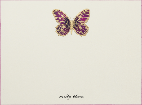 Hand Painted Butterfly (Stationery) - Magenta - Bernard Maisner - Personalized stationery