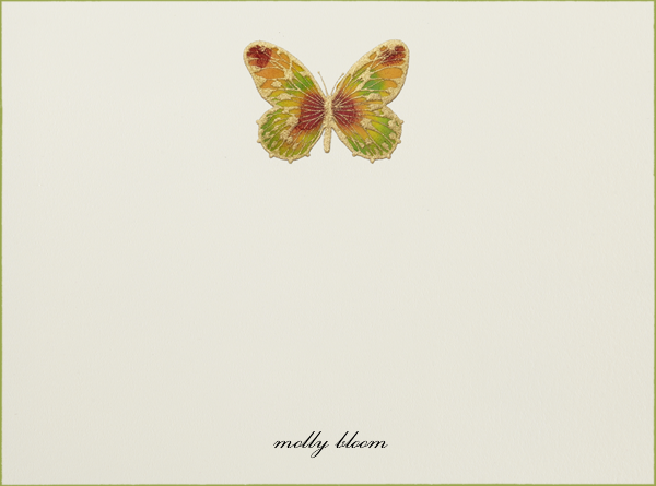 Hand Painted Butterfly (Stationery) - Red Yellow Green - Bernard Maisner