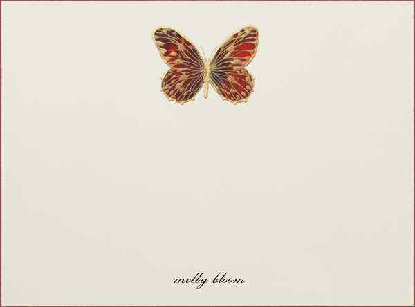 Hand Painted Butterfly (Stationery) - Red Brown - Bernard Maisner