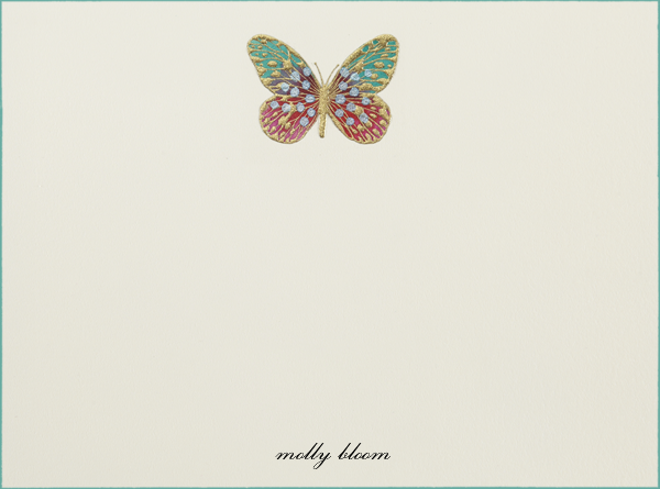 Hand Painted Butterfly (Stationery) - Red Teal - Bernard Maisner