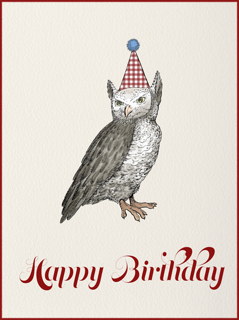 Owl (Cream) - Paperless Post - Birthday