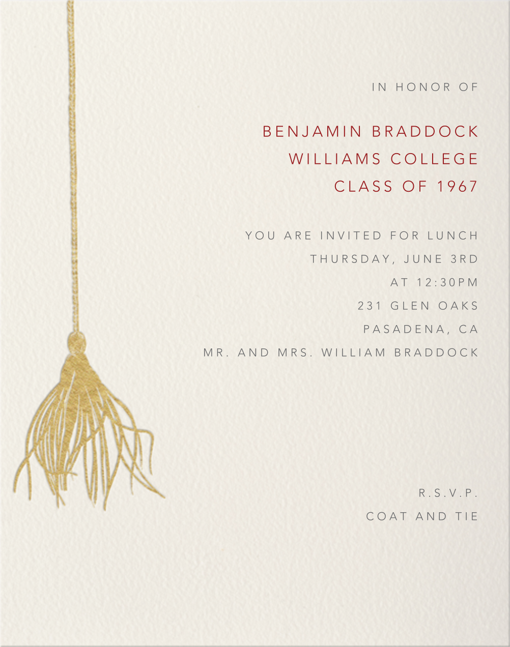Tassel Card  - Paperless Post - Graduation party