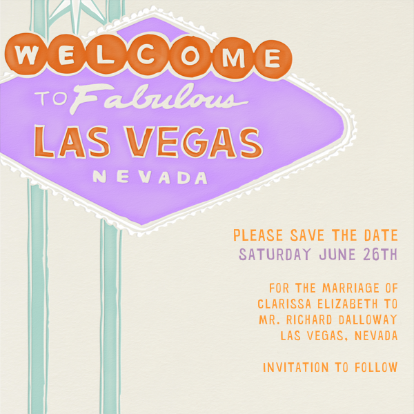 Vegas Welcome - Lilac - Paperless Post - Save the date