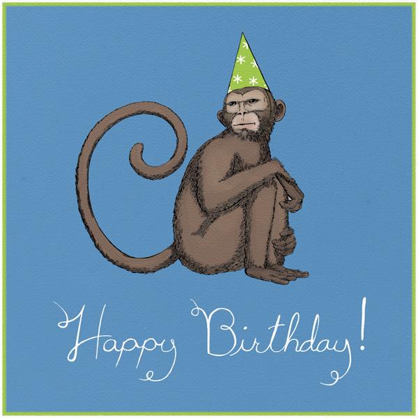 Monkey (Dempsey Blue) - Paperless Post - Free birthday eCards