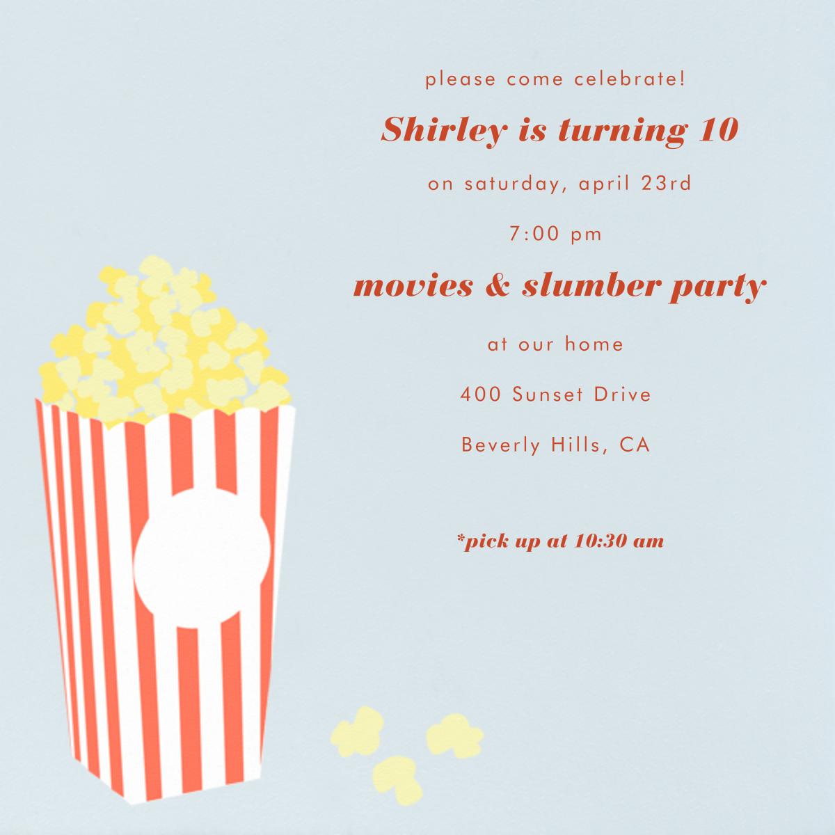 Bucket of Popcorn - Blue - Paperless Post - Kids' birthday