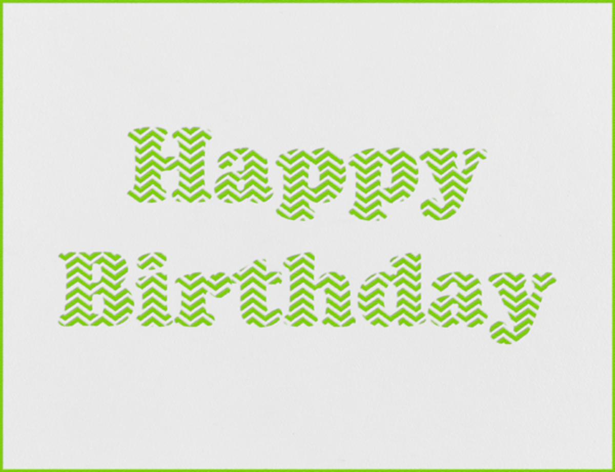 Chevron (Leaf Green) - Paperless Post - Birthday