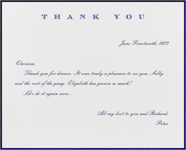 Classic Thanks (Navy) - Paperless Post - General