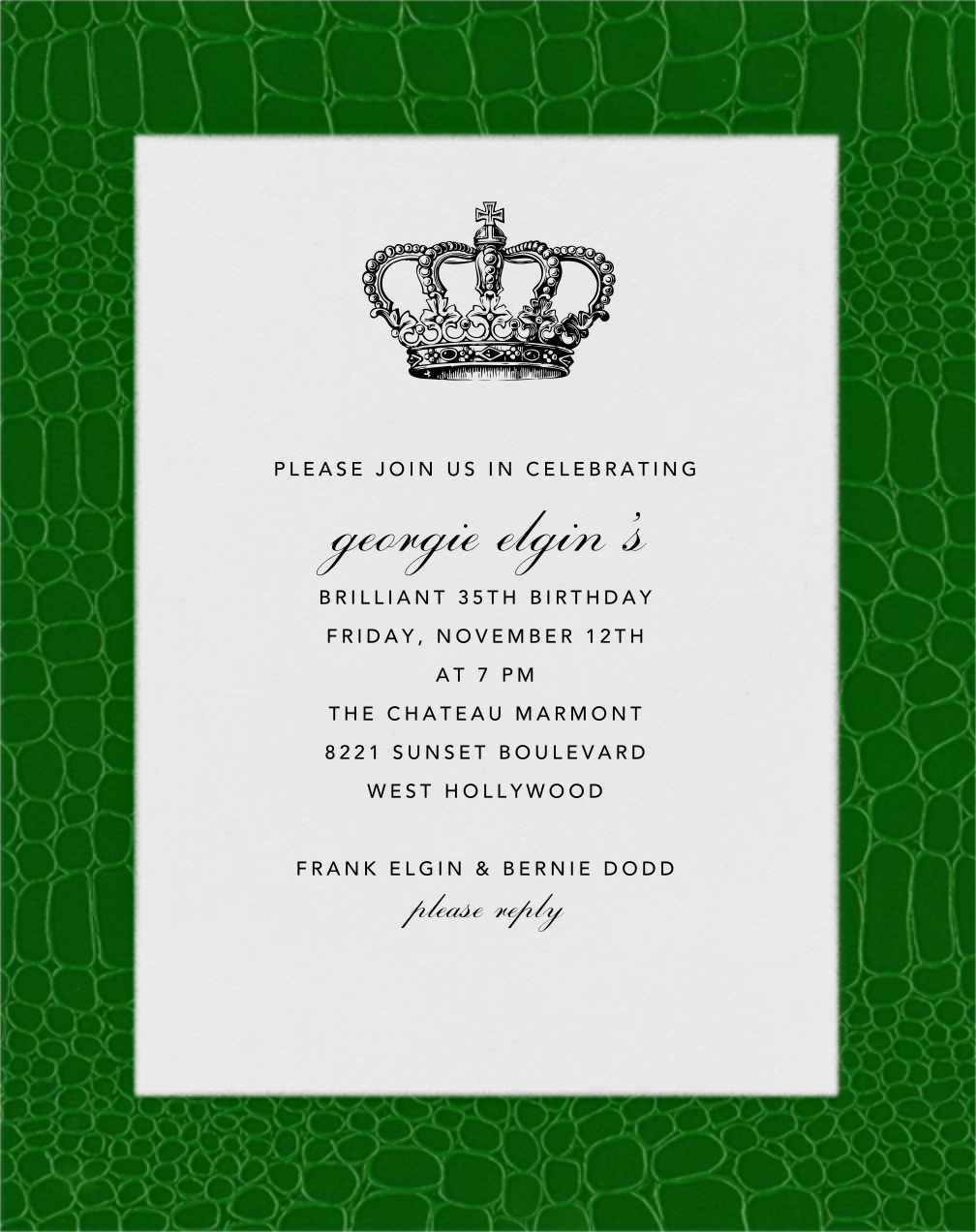 Croc Border - Forest Green - Paperless Post - Adult birthday