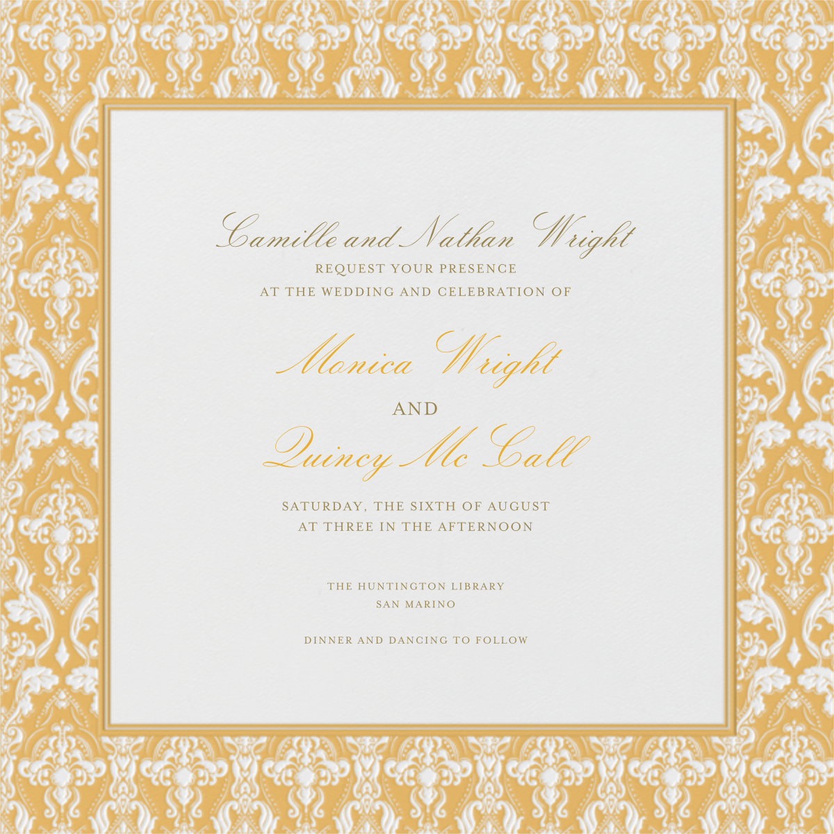 Damask - Ivory with Apricot (Border) - Paperless Post