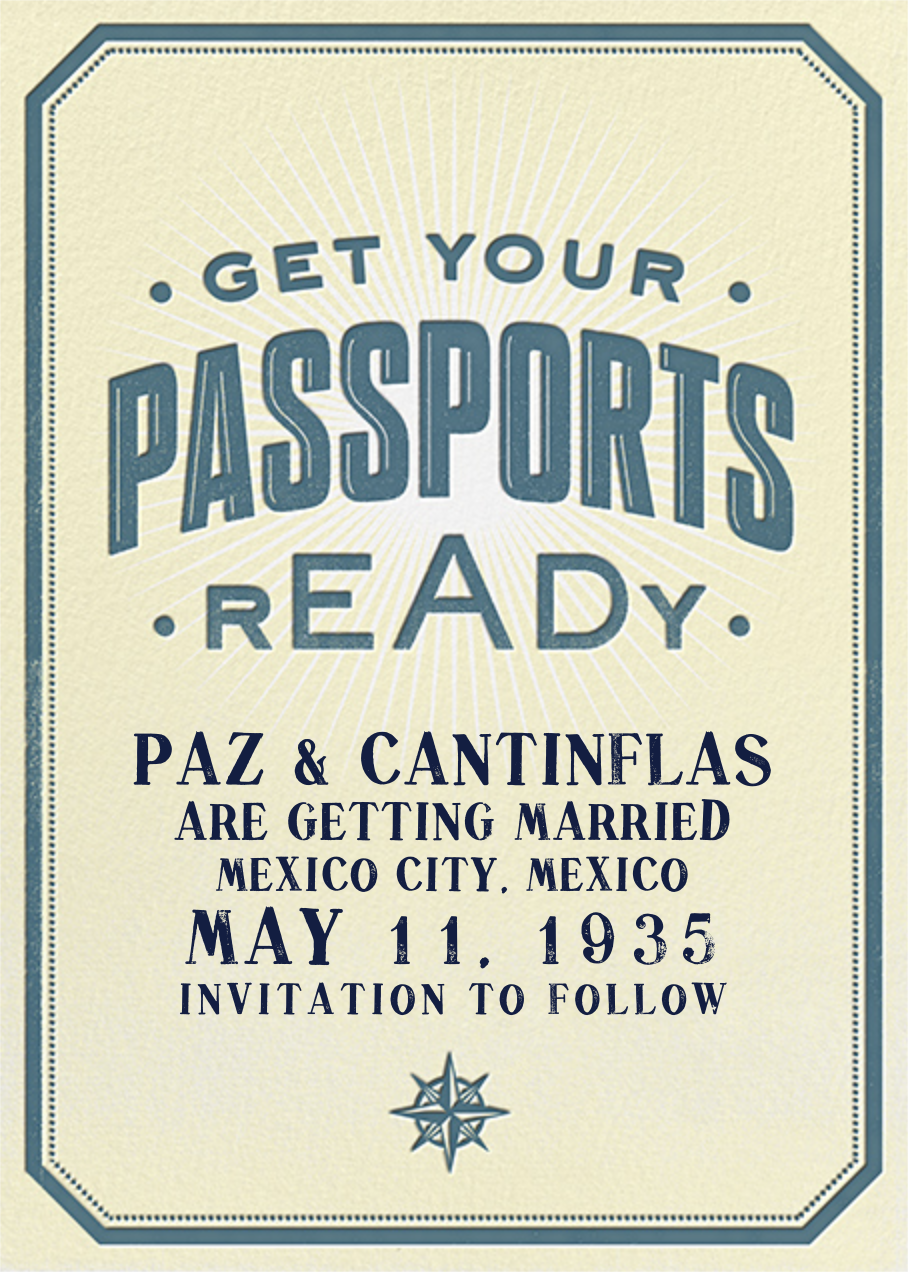 Passport Ready - Crate & Barrel - Party save the dates