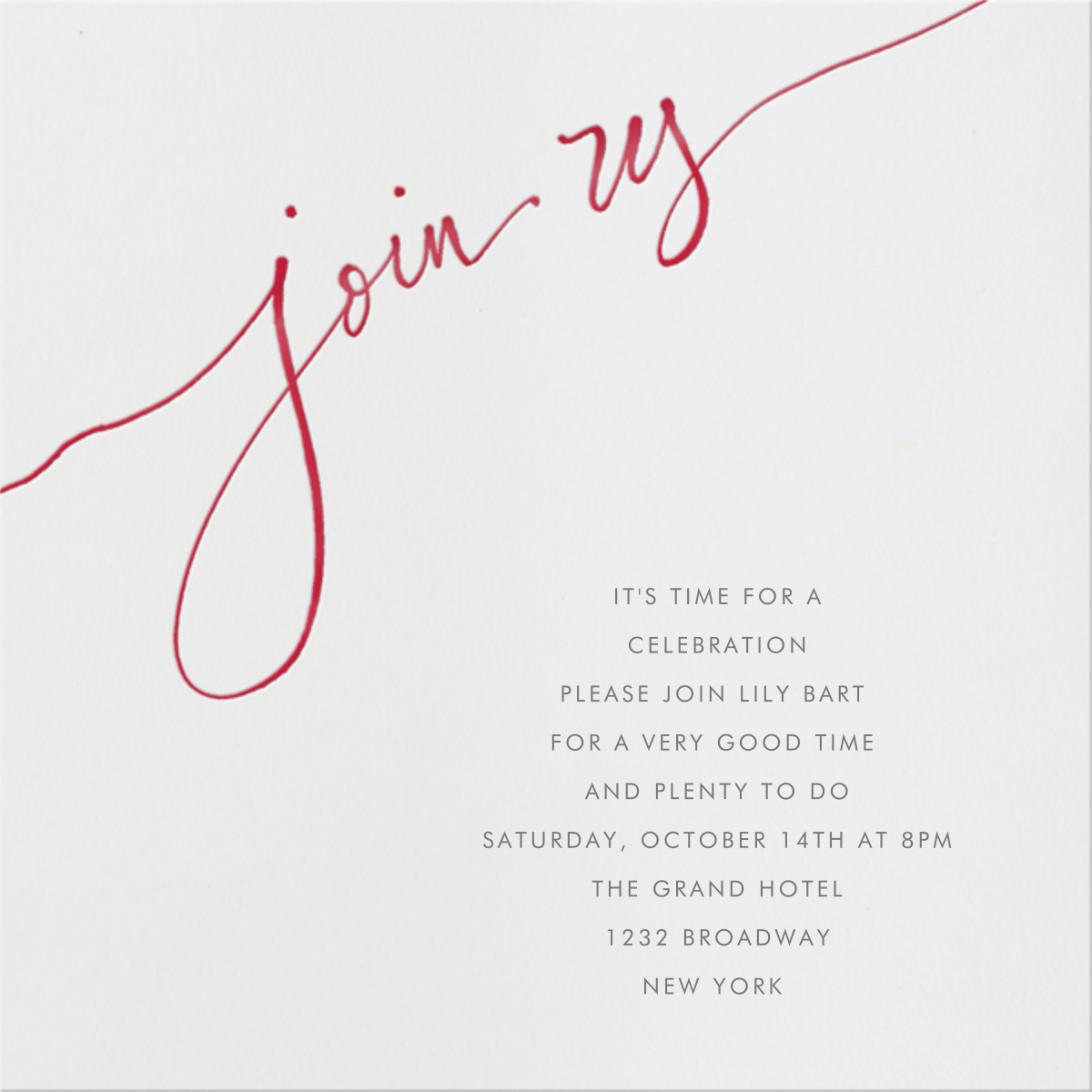 Join us - Red - Linda and Harriett - Engagement party