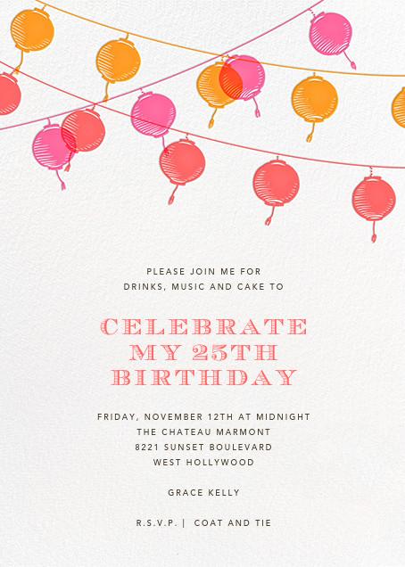 Lanterns - Sherbert - Paperless Post - Adult birthday