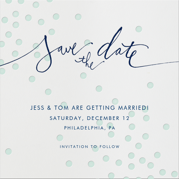 Mint dots - Linda and Harriett - Save the date