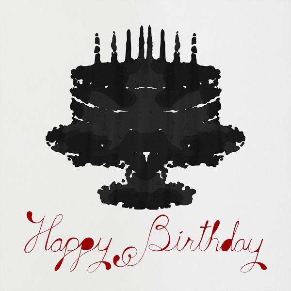 Rorschach Birthday Cake (Crimson) - Paperless Post