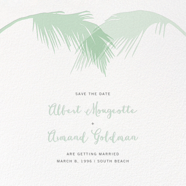 Tropical Palm (Save the Date) - Mint - Paperless Post - Destination